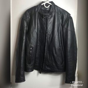 Vintage Moto Leather Bomber Jacket Zip Rock Biker